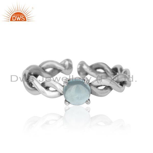 Dainty Twisted Ring in Oxidized Silver 925 with Blue Topaz