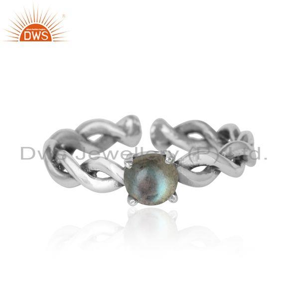 Dainty Twisted Ring in Oxidized Silver with Natural Labradorite