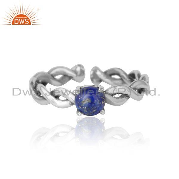 Dainty twisted ring in oxidized silver 925 with natural lapis