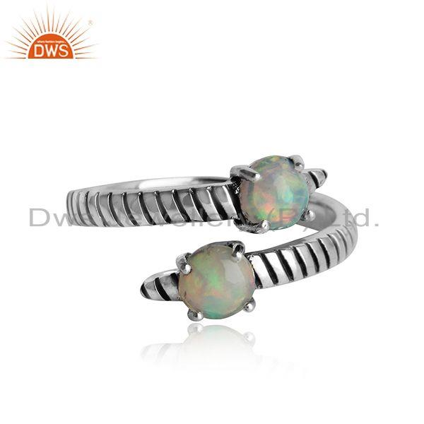 Handmade bypass ring in oxidised silver 925 and ethiopian opal