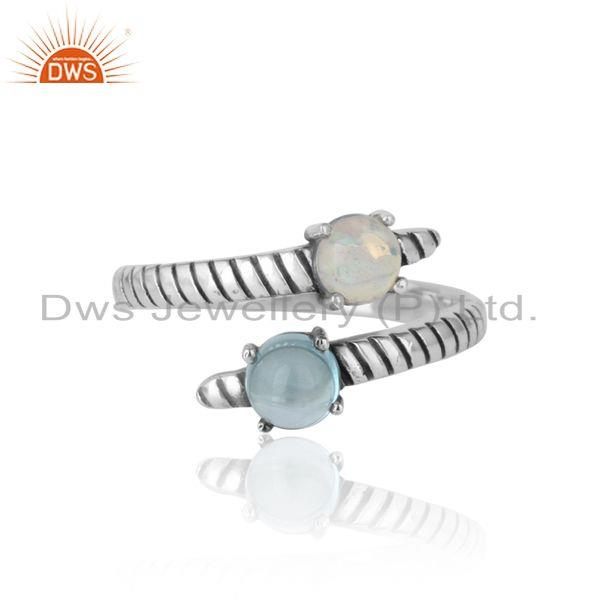Handmade Bypass Ring in Oxidized Silver Ethiopian Opal Blue Topaz