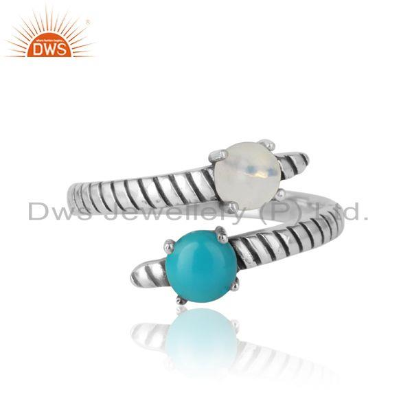Bypass Ring in Oxidized Silver Ethiopian Opal Arizona Turquoise
