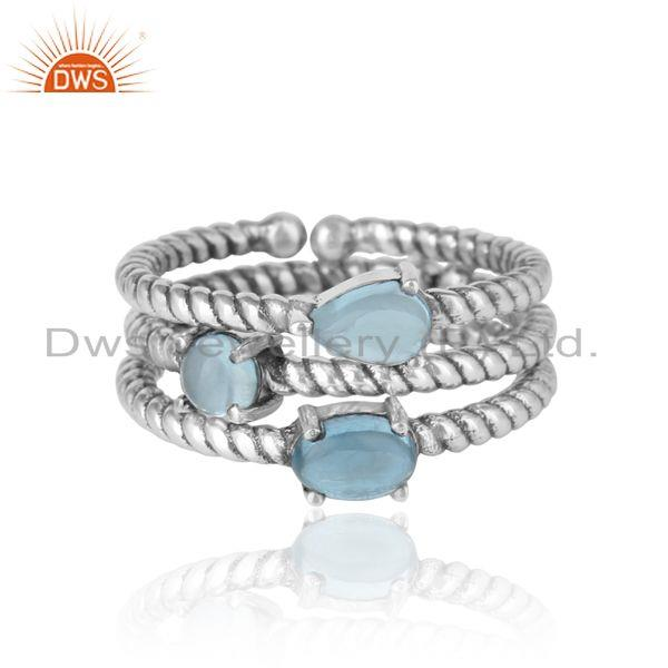 Twisted Ring set of 3 in Oxidized Silver and Blue Topaz