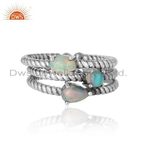 Twisted Ring set of 3 in Oxidized Silver and Ethiopian Opal