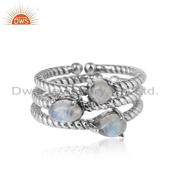 Twisted Stackable Oxidised Silver Ring Set with Rainbow Moonstone
