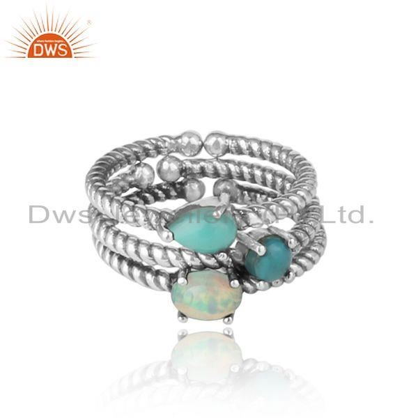 Twisted Ring set of 3 in Oxidized Silver and Arizona Turquoise