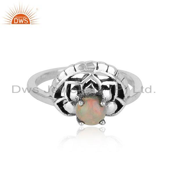 Floral ring in oxidised silver 925 and shimmering ethiopian opal