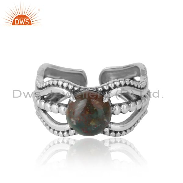 Bold Handmade Silver Ring in Oxidized Finish With Blood Stone