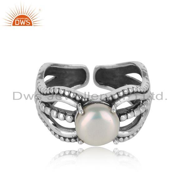 Bold handmade silver ring in oxidised finish with adorable pearl