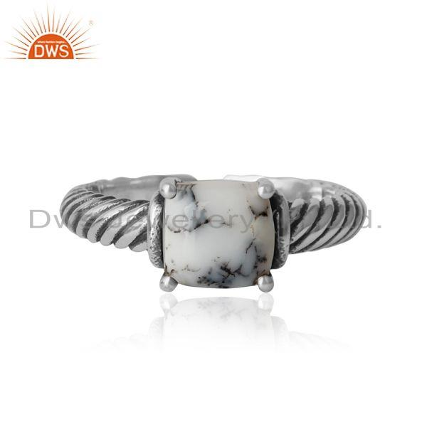 Handcrafted Twisted Bold Ring in Oxidized Silver 925 and Dendrite