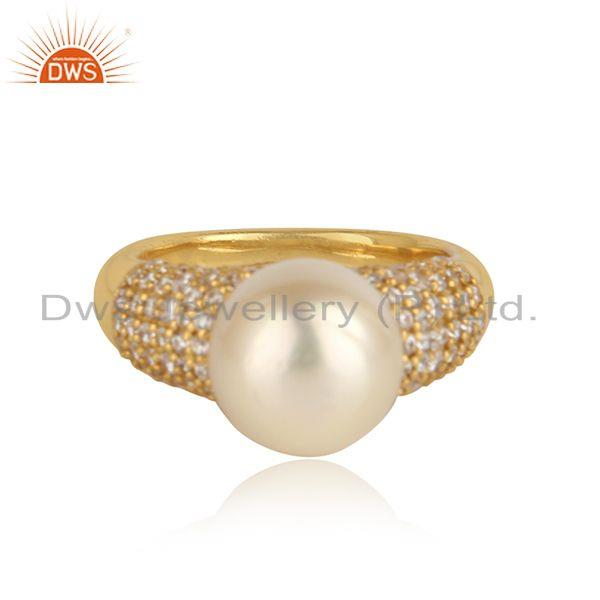 Cz natural pearl gemstone designer 18k gold plated silver rings