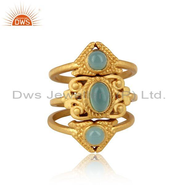 Boho Set of 3 Ring  in Gold On Silver with Aqua Chalcedony