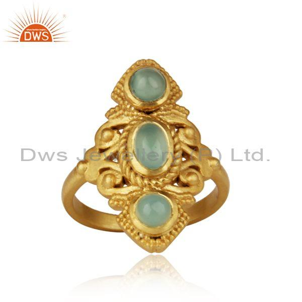 Bohemian Ring in Yellow Gold on Silver 925 with Aqua Chalcedony