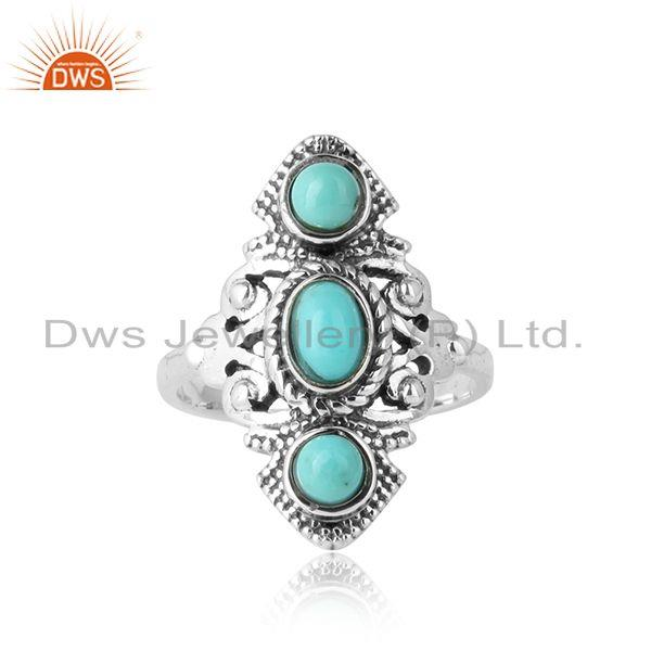 Bohemian style ring in oxidised silver with arizona turquoise
