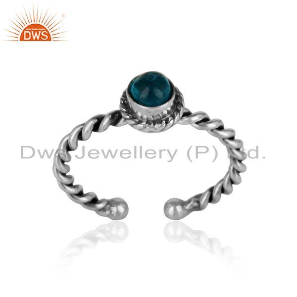 Neon apatite twisted handmade designer ring in oxidized silver 925