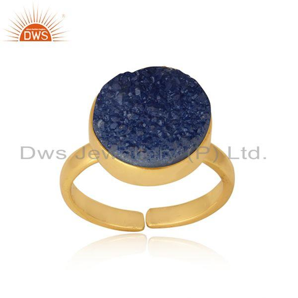 Designer Elegant Blue Druzy Ring in Yellow Gold on Silver 925