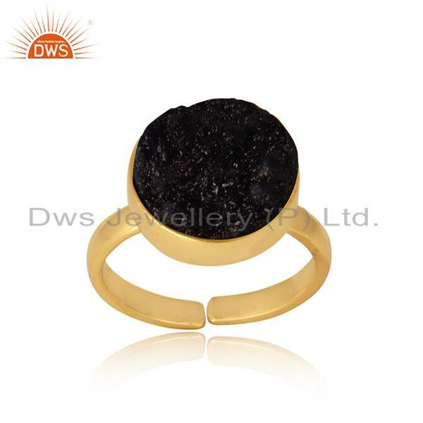 Designer elegant black druzy ring in yellow gold on silver 925