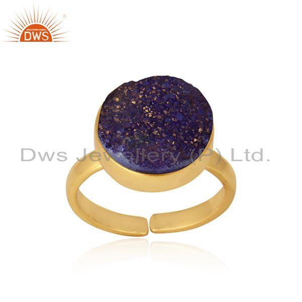 Designer elegant purple druzy ring in yellow gold on silver 925