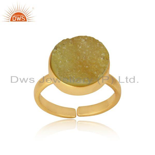 Designer elegant yellow druzy ring in yellow gold on silver 925