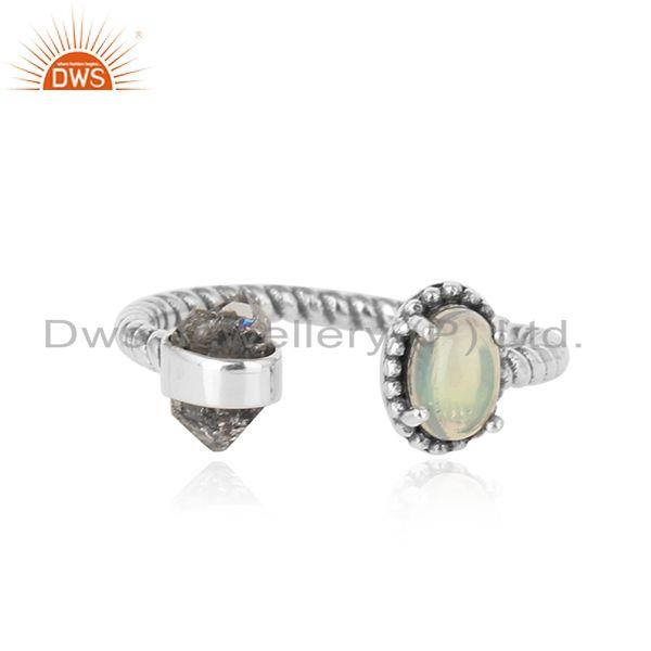 Designer Herkimer Diamond Ring in Solid Silver with Ethiopian Opal