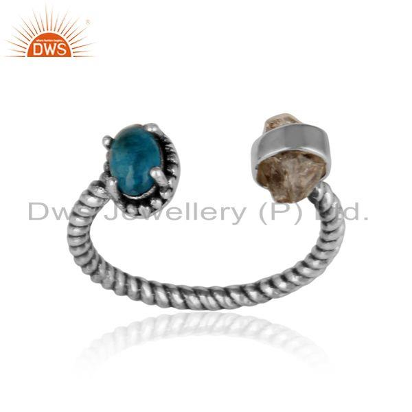 Designer herkimer diamond ring in oxidized silver with neon apatite