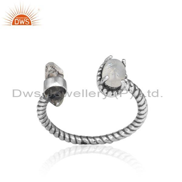 Rainbow moon stone, herkimer diamond silver twisted ring