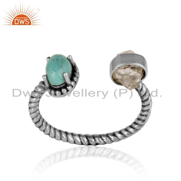 Herkimer diamond ring in oxidized silver with arizona turquoise