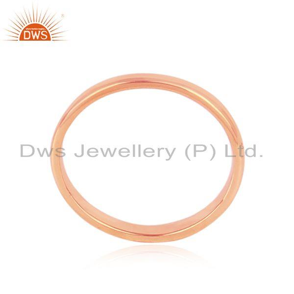 Classic Plain Band Ring in Rose Gold on Silver 925