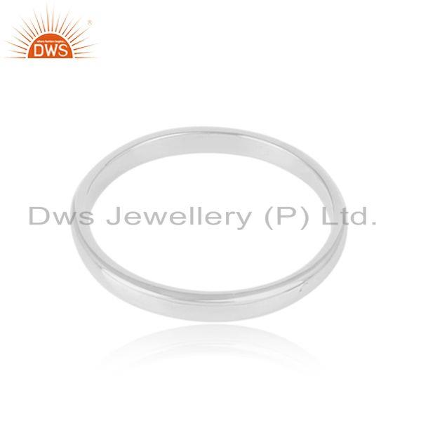 Classic Plain Band Ring in Rhodium Plated Silver 925