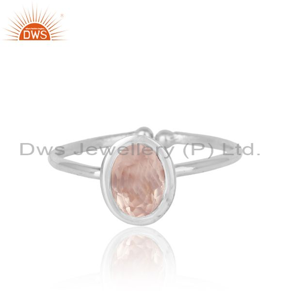 Handmade exquisite rose quartz solitaire in rhodium on silver 925