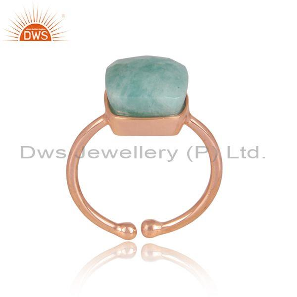 Amazonite set rose gold on 925 silver classic designer ring