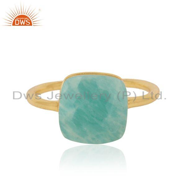 Handmade solitaire ring in yellow gold on silver 925 and amazonite