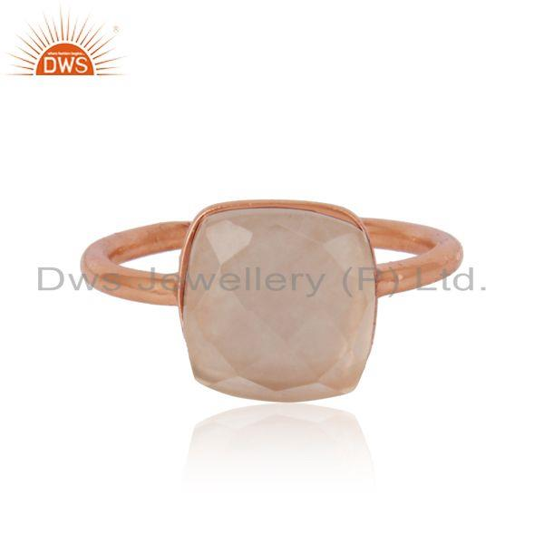 Handmade Solitaire Ring in Rose Gold on Silver 925 and Rose Quartz