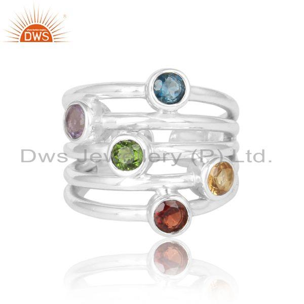 Designer silver ring with amethyst garnet chrome diopside london bt