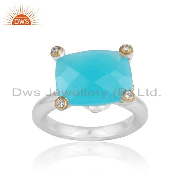 Designer prong bold ring in gold on silver with aqua chalcedony