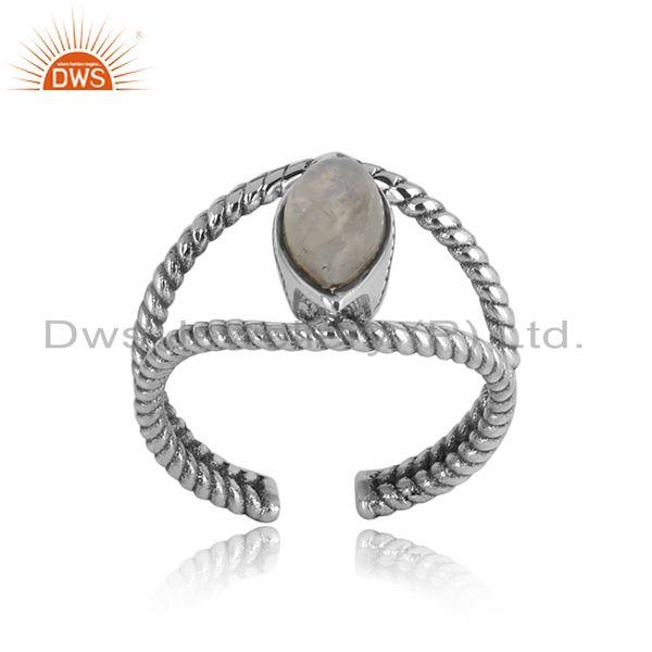 Twisted designer rainbow moonstone ring in oxidized silver 925