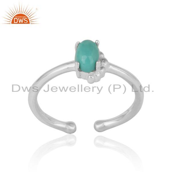 Handcrafted dainty ring in silver 925 with arizona turquoise
