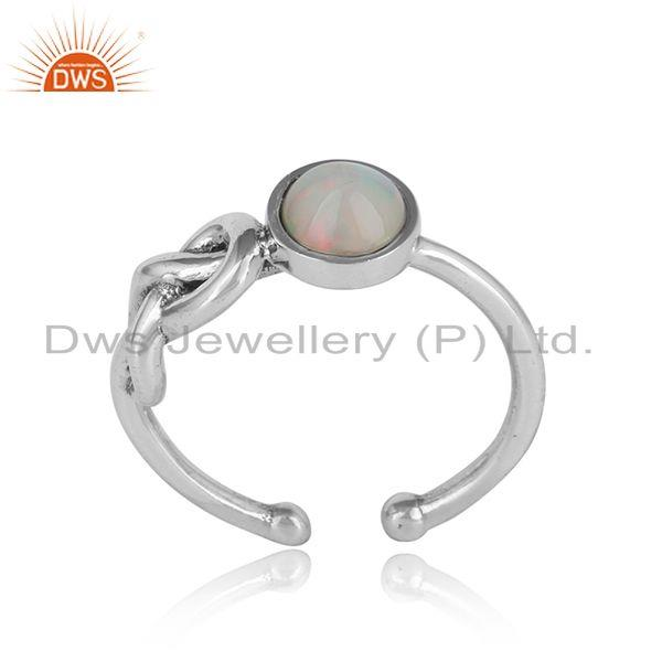 Designer knot ring in oxidized silver 925 with ethiopial opal
