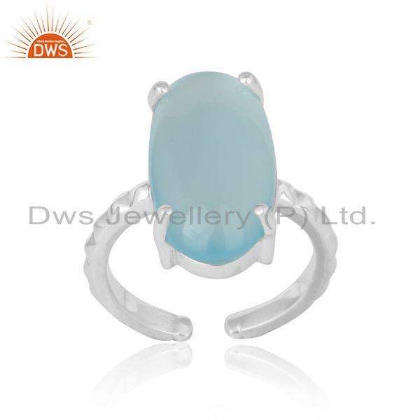 Handcrafted textred statement aqua chalcedony silver 925 ring