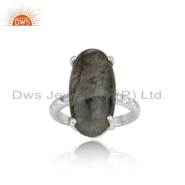 Designer Handtextured Bold Sterling Silver Ring with Labradorite