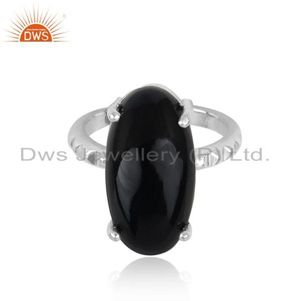 Handtextured Designer Bold Sterling Silver 925 Ring with Black Onyx