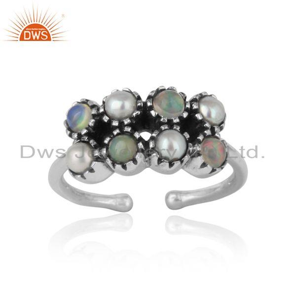 Handcrafted designer pearl ethiopian ring in oxidized silver