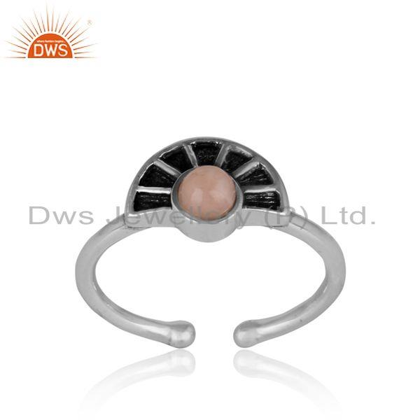 Half moon texture designer pink opal ring in oxidized silver 925