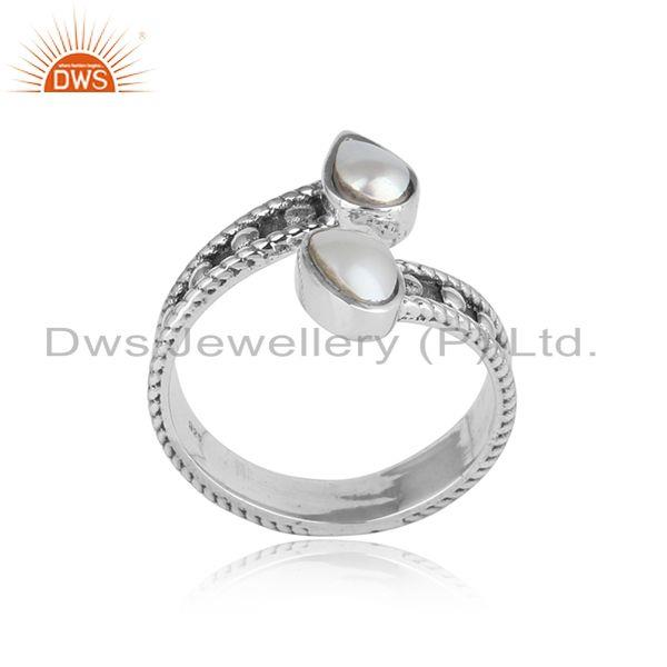 Designer handcrafted bypass ring in oxidized silver with pearl
