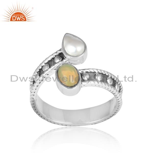 Ethiopian Opal And Pearl Gemstone Sterling Silver Ring