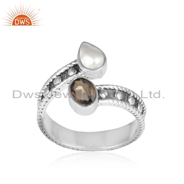 Smoky and pearl oxidized sterling silver facing ring