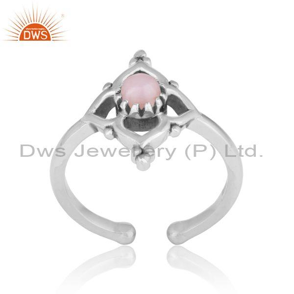 Handmade designer pink opal ring in oxidized silver 925