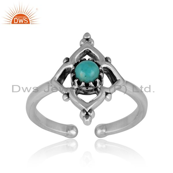 Handmade designer arizona turquoise ring in oxidized silver 925