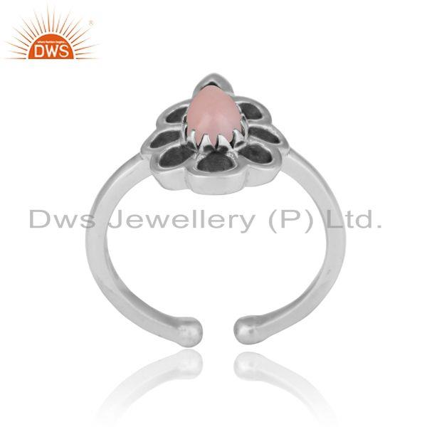 Designer floral ring in oxidized silver 925 and pink opal