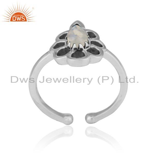 Designer floral ring in oxidized silver 925 and rainbow moonstone
